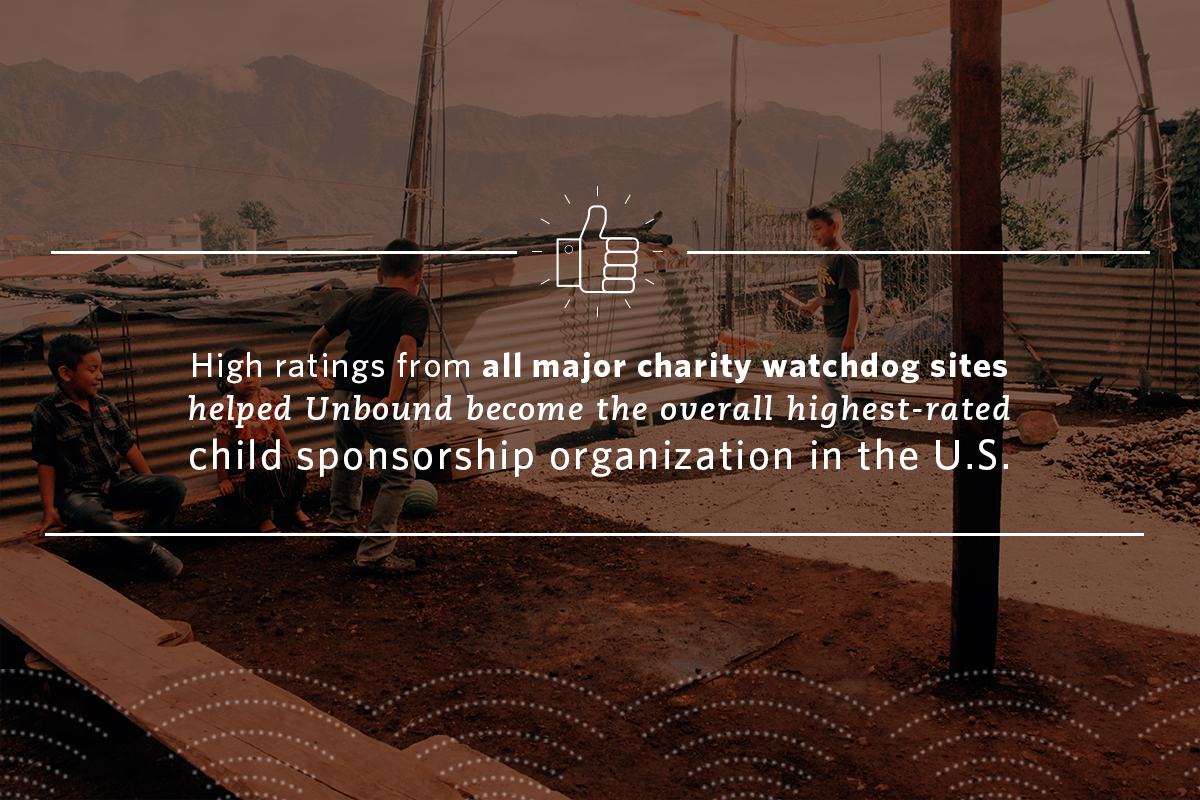 High ratings from all major charity watchdog sites helped Unbound become the overall highest-rated child sponsorship organization in the U.S.